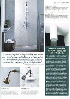 The London wall-mounted showerhead from The Watermark Collection comes in a vintage brass finish. http://www.thewatermarkcollection.eu/ Essential Kitchen Bathroom Bedroom May 2017