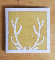 Reindeer Antlers Christmas Card Handprinted Linocut Square