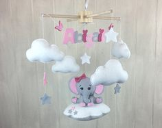 Baby mobile hot air balloon mobile elephant by littleHooters