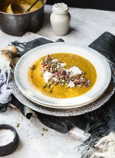 A delicious winter warmer and do we ever need it today…roasted pumpkin and apple soup with goat's cheese and bacon