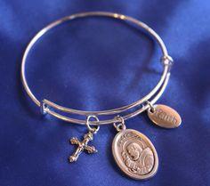 Padre Pio Saint Medal Wire Bangle Charm Bracelet