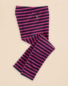 Ralph Lauren Childrenswear Girls' Jersey Stripe Leggings - Sizes 2-6X
