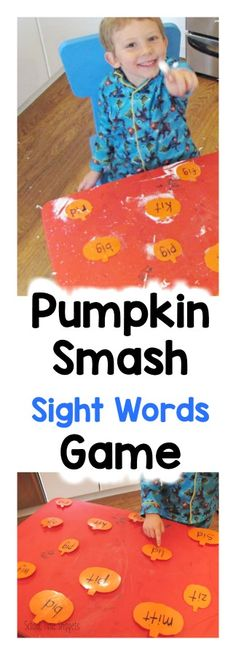 Make learning to read and memorize sight words fun this fall with this messy game-- Sight Word Pumpkin Smash! Teaching Sight Words, Sight Word Games, Sight Word Activities, Vocabulary Games, Literacy Activities, Listening Activities, Halloween Theme Preschool, French Language Learning, Learning Spanish