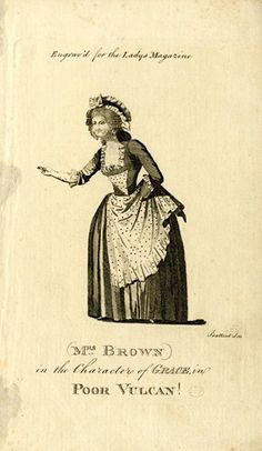Portrait of the actress as the character from Dibdin's burletta, standing turned slightly and looking to left, her right arm outstretched, snapping her fingers (?), wearing dark panniered dress with spotted bodice and apron, which she holds up with her left hand (somewhat obscured), and mob cap with broad ribbon; illustration to 'The Lady's Magazine'. Etching with engraving