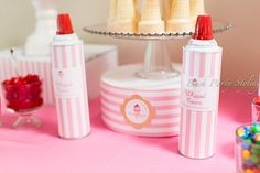 Gorgeous ice cream birthday party - Cans of whipped cream dolled up to match the theme!