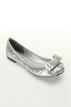 Erika 23 Glitter Ballet Flats In Silver