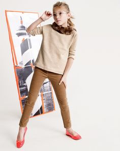 Neutrals with red shoes! Cute Tween Fashion