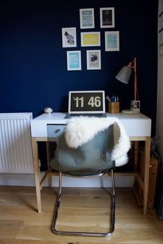 Navy home office with Habitat desk and Ikea chair