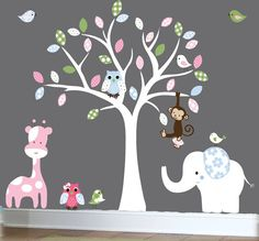 Jungle wall decal - nursery white tree wall decal - patterned vinyl wall art