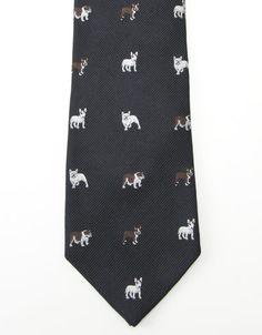 "J. Press : 110th Anniversary | Neckwear — Bulldog Embroidered Tie red/navy/gold/blue ; 3.25"" width $89.00"