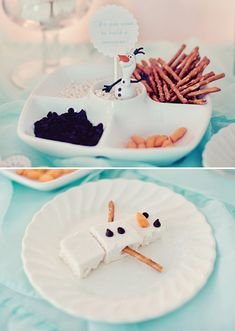 Do you want to build a snowman snack with marshmallows, pretzel sticks, chips and carrot bits