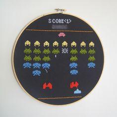 Space Invaders cross-stitch. Love!