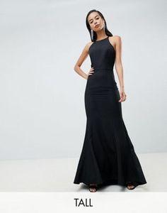 b6768db291ec Image 1 of Jarlo Tall open button back fishtail maxi dress hem in black  Bridesmaid Dresses
