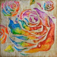 schilderij bloem modern 100x100