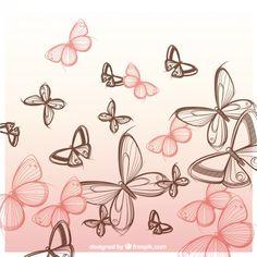 Desenho borboletas fundo Vetor grátis