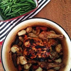 """A little meal plan swap tonight. Couldn't wait to make this #iqs8wp Lemon Roast Chicken! {potato, parsnip, carrot & crispy green beans} this was very well…"""