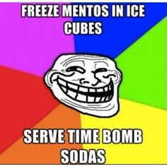 Freeze mentos in ice cubes