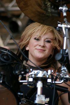 Jen Ledger - drummer for Skillet. Such a goddess. Love her. Love Skillet.
