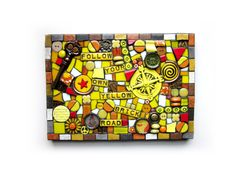 Follow Your Own Yellow Brick Road  Handmade Contemporary Mixed Media Mosaic Assemblage Wall Décor.  Measures Approx:10 x 7.5 Many different mosaic