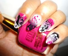 justtisems:    My current nails doing the whole splatter over gradient scene. To see what polishes I used HERE   #EasyNip