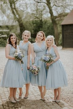 Short Bridesmaid Dresses Pretty Pale Blue Gold Fairy Lit Barn Wedding http://lolarosephotography.com/