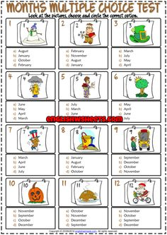 Months ESL Printable Multiple Choice Test For Kids