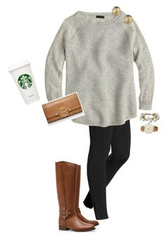 """""""Shoping"""" by ava-lindsey ❤ liked on Polyvore featuring Hue, Georg Jensen, Stella & Dot, J.Crew, Tory Burch and Sperry"""