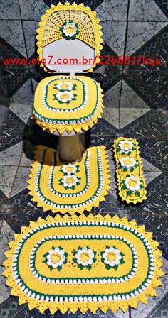 Crocheted Bathroom Set Ideas for Crochet Lovers Crochet Stitches Patterns, Doily Patterns, Crochet Bedspread, Crochet Doilies, Animal Rug, Crochet Storage, Crochet Decoration, Miniature Crafts, Love Crochet