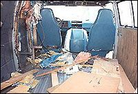 """The inside of """"Murder Mac,"""" Larry Bittaker and Roy Norris's rolling crime scene, after the police stripped the van of useful evidence."""