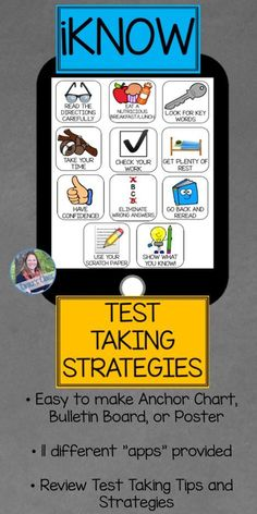 """Everything you need to create a handy reference tool for students before testing season starts! You can print each """"app"""" as an square and put onto a large poster, or select the """"apps"""" you want in the editable powerpoint and then print and go! Elementary Teacher, Upper Elementary, Test Taking Strategies, Test Strategy, Planning School, Thing 1, The Computer, Teacher Resources, School Resources"""