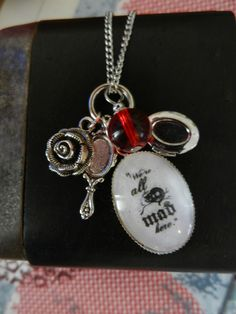 Cheshire Cat 'We're all mad here' Alice in Wonderland fairytale necklace £14.00