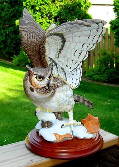 Franklin Mint Great Horned Owl Porcelain Sculpture by Mcmonigle 1988 | eBay
