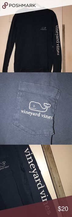 Vineyard vines long sleeve pocketed tee Navy blue long sleeve vineyard vines tee. Is sized in men's but can be worn as a oversized women's tee! Very comfy. 100% cotton. White lettering and picturing is vintage styled, it is supposed to look cracked. Taking reasonable offers! Vineyard Vines Shirts Tees - Long Sleeve