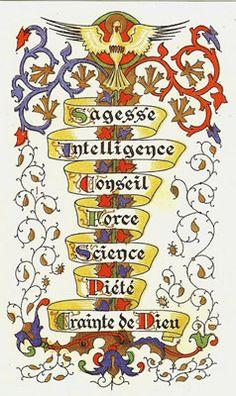 """(7-dons-du-Saint-Esprit.jpg) --- """" SAGESSE-INTELLIGENCE-CONSEIL-FORCE-CONNAISSANCE-AFFECTION FILIALE-ADORATION """".Les Sept Dons de L'Esprit Saint."""