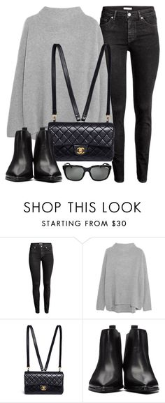 """""""Top"""" by monmondefou ❤ liked on Polyvore featuring H&M, Vince, Chanel, Acne Studios, Burberry, black and grey"""
