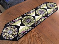 Asian Quilted Table Runner in Green and Black, Oriental Style Stack and Whack Floral Table Runner Quilt, Quiltsy Handmade by QuiltSewPieceful on Etsy