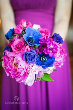 Breathtakingly rich bouquet for Claire's gals to carry down the aisle. Fuller Photography