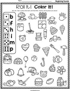 Phonics Roll It! Color It! by Jodi Southard | Teachers Pay Teachers Teaching Letter Sounds, Teaching Letters, Kid Activites, Class Activities, Beginning Sounds, Occupational Therapy, Colorful Pictures, Phonics, Teacher Pay Teachers