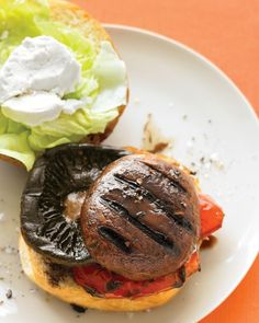 ... grilled portobellos and peppers on buns with fresh goat cheese and
