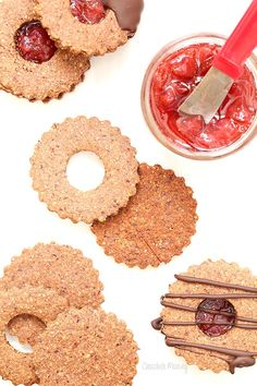Chocolate Covered Strawberry Linzer Cookies made with hazelnut flour and strawberry jam | Chocolate Moosey