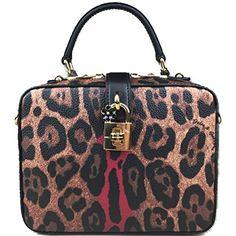 a83d7b3c2c0 Leopard Red Dauphine Leather Medium Camera Box Sicily Padlock Bag Handbag  Purse Tote Trendy Style,