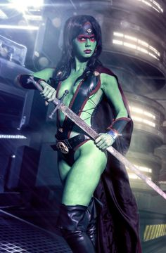 WhiteLemon's Gamora cosplay (Guardians of the Galaxy). That's one green alien lady you do NOT want to tussle with.