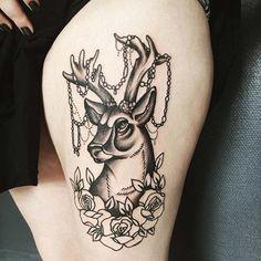 üst bacak geyik dövmesi bayan thigh deer tattoo for women