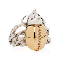 Gilded Rhino Beetle Ring | Yasmin Everley Jewellery | Wolf & Badger