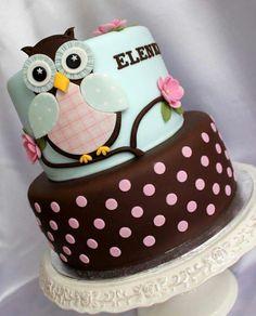 Owl cake baby shower