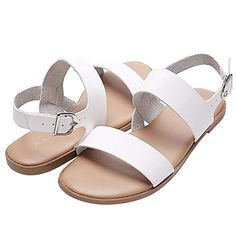 803fa0a106c Aukusor Women s Wide Width Flat Sandals - Comfortable Open Toe Ankle Strap  Flexible Casual Summer Shoes