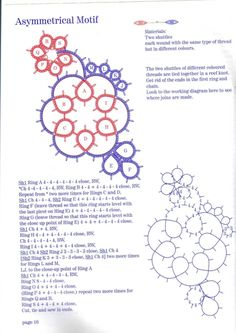 ru / Фото - Tatting with colour - this motif can be connected together to form a larger fabric - see the next page at the link Tatting Earrings, Tatting Jewelry, Tatting Lace, Shuttle Tatting Patterns, Needle Tatting Patterns, Crochet Patterns, Tatting Tutorial, Lace Making, Bobbin Lace