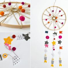 colourful dreamcatcher, made with pom poms, paper stars and fish, preschool learning activities Creative Activities, Preschool Activities, Preschool Learning, Diy For Kids, Crafts For Kids, Washi, Easy Paper Flowers, Colored Paper, New Years Eve Party