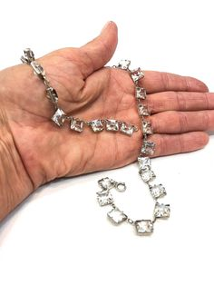 Sterling Crystal Choker, Art Deco 1930s Necklace, Princess Cut Clear Crystals, Vintage Sparkly Wedding Prom Occasion Crystal Choker, Clear Crystal, Silver Cuff, Sterling Silver, Vintage Wedding Jewelry, Princess Cut, Boho Jewelry, 1930s, Chokers