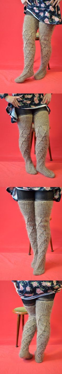 Leg Warmers 163587: High Knee Socks Brown Thigh Leg Warmers Boot Over Natural Goat Down Hand-Knitted -> BUY IT NOW ONLY: $41 on eBay!